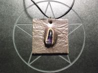 Purple Amethyst and Leather Pendant
