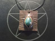 Green Aventurine and Leather Pendant