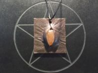 Orange Carnelian and Leather Pendant