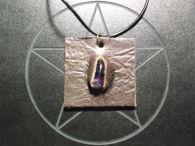 Purple Amethyst and Leather Pendant