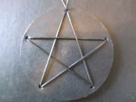 Black Woven Leather Cord Pentagram in Leather Disc