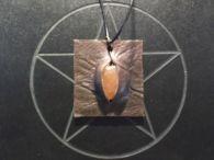 Orange Carnelian and Leather Pendant