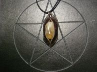 Golden Citrine and Leather Pendant