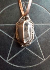 Clear Quartz and Leather Pendant