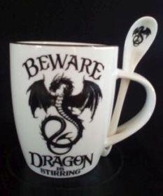 Beware Dragon is Stirring Mug and Spoon Set