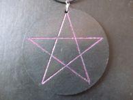 Purple Glitter Pentagram in Round Leather Disc<