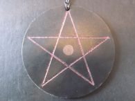 Red and Green Opposite Sided Glitter Pentagrams in Round Leather Disc