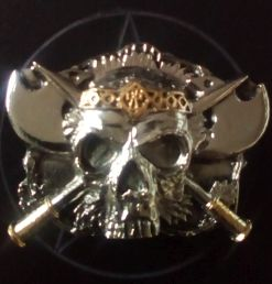 Skull and Axes Buckle