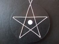 White Woven Leather Cord Pentagram in Leather Disc