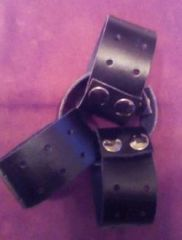 Hole Punched Leather Wristbands with Gun Metal Stud Poppers